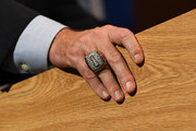 A detailed view of a National Championship ring worn by Florida Gators head football coach Dan Mullen as he speaks during an introductory press conference at the Bill Heavener football complex on November 27, 2017 in Gainesville, Florida.