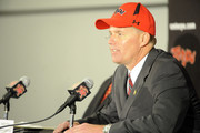 Randy Edsall speaks as he is introduced as the University of Maryland Terps new head football coach during a press conference on January 3, 2011 at the Byrd Stadium in College Park, Maryland.