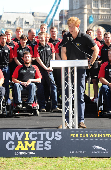 Prince Harry makes a speech as he unveils the British Armed Forces Team For The Invictus Games at Potters Field Park on August 13, 2014 in London, England.