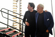 Los Angeles Philharmonic Music & Artistic Director Gustavo Dudamel (L) and architect Frank Gehry attend the design unveiling of the Judith and Thomas L. Beckmen Yola Center at Inglewood on August 15, 2018 in Inglewood, California.