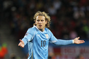 Diego Forlan of Uruguay gestures during the 2010 FIFA World Cup South Africa Third Place Play-off match between Uruguay and Germany at The Nelson Mandela Bay Stadium on July 10, 2010 in Port Elizabeth, South Africa.