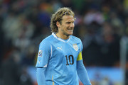 Diego Forlan of Uruguay reacts during the 2010 FIFA World Cup South Africa Quarter Final match between Uruguay and Ghana at the Soccer City stadium on July 2, 2010 in Johannesburg, South Africa.