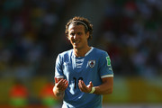 Diego Forlan of Uruguay reacts during the FIFA Confederations Cup Brazil 2013 3rd Place match between Uruguay and Italy at Estadio Octavio Mangabeira (Arena Fonte Nova Salvador) on June 30, 2013 in Salvador, Brazil.