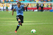 Diego Forlan of Uruguay misses a penalty kick duing a shootout during the FIFA Confederations Cup Brazil 2013 3rd Place match between Uruguay and Italy at Estadio Octavio Mangabeira (Arena Fonte Nova Salvador) on June 30, 2013 in Salvador, Brazil.