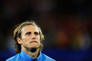 Diego Forlan of Uruguay looks on ahead of the 2010 FIFA World Cup South Africa Semi Final match between Uruguay and the Netherlands at Green Point Stadium on July 6, 2010 in Cape Town, South Africa.