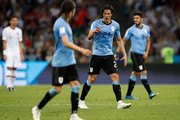 Edinson Cavani of Uruguay reacts with his team mates after scoring his second goal during the 2018 FIFA World Cup Russia Round of 16 match between Uruguay and Portugal at Fisht Stadium on June 30, 2018 in Sochi, Russia.