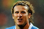 Diego Forlan of Uruguay looks on during the 2010 FIFA World Cup South Africa Round of Sixteen match between Uruguay and South Korea at Nelson Mandela Bay Stadium on June 26, 2010 in Nelson Mandela Bay/Port Elizabeth, South Africa.