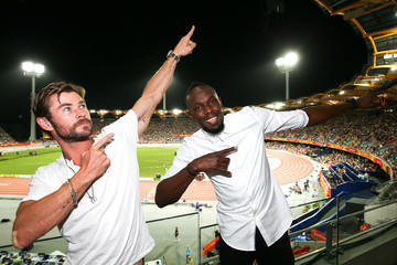 Usain Bolt Usain Bolt And Chris Hemsworth Attend The Commonwealth Games