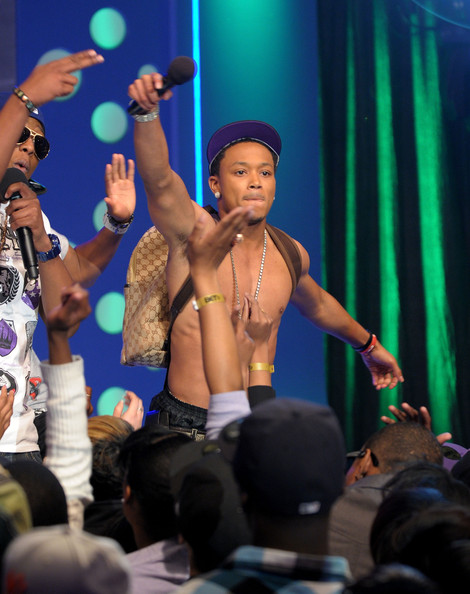 "Rappers (L-R) Valentino and Romeo of the College Boys perform on BET's ""106 & Park"" at BET Studios on March 24, 2010 in New York City."