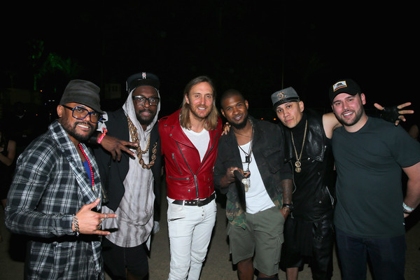 2015 Coachella Valley Music And Arts Festival - Weekend 1 - Day 3 [social group,event,fun,night,facial hair,smile,performance,david guetta,usher,scooter braun,artists,taboo,will.i.am,l-r,the black eyed peas,ap,coachella valley music and arts festival]