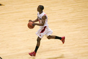 D.J. gay #23 of San Diego State dribbles the ball against Utah at Cox Arena on February 8, 2011 in San Diego, California.