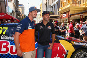 Dakar Rally Champion Toby Price and Jamie Whincup of Red Bull Racing Australia pose in Rundle Mall ahead of the V8 Supercars Clipsal 500 at Adelaide Street Circuit on March 2, 2016 in Adelaide, Australia.