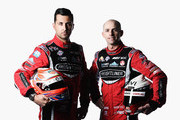 This image was processed using digital filters.) Fabian Coulthard and Luke Youlden of Brad Jones Racing pose during the 2015 V8 Supercars Enduro pairing portrait session at Sandown International Motor Raceway on September 10, 2015 in Melbourne, Australia.