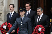 (L-R) Liberal Democrat leader Nick Clegg, Conservative Party Leader David Cameron and Labour Party Leader and Prime Minister Gordon Brown attend the VE Day 65th anniversary tributes at the Cenotaph in Whitehall on May 8, 2010 in London, England. The ceremony commemorates Victory in Europe day, declared on 8 May 1945.