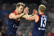 Tim Smith of Casey is congratulated by Corey Wagner after kicking a goal during the VFL Grand Final match between Casey and Box Hill at Etihad Stadium on September 23, 2018 in Melbourne, Australia.
