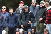 Nathan Jones of the Demons laughs as the Demons watch from the crowd  during the VFL Preliminary Final match between Casey and Essendon at North Port Oval on September 15, 2018 in Melbourne, Australia.