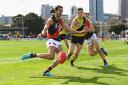Jake Long of Essendon kicks during the VFL Semi Final match between Richmond and Essendon at North Port Oval on September 8, 2018 in Melbourne, Australia.