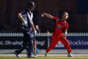 Adam Zampa of South Australia bowls next to Cameron White of Victoria during the JLT One Day Cup match between Victoria and South Australia at Junction Oval on September 30, 2018 in Melbourne, Australia.