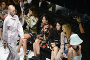 Meric Kucuk (1st L), Simay Yilmaz (2nd R) and Zeynep Zoylu (1st R) attend the Mercedes-Benz Istanbul Fashion Week at Zorlu Center on September 13, 2018 in Istanbul, Turkey.