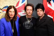 """Musician Ozzy Osbourne,  Musician/artist Billy Morrison and musician Gary Numan attend an VIP Opening Reception For """"Dis-Ease""""  An Evening Of Fine Art With Billy Morrison at Mouche Gallery on September 2, 2015 in Beverly Hills, California."""