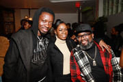(L-R) Michael Blackson, Melanie Comarcho and Lil Rel Howery attend VIP Screening of Tyler Perry's A Fall From Grace with Bresha Webb at Neuehouse in Los Angeles on January 09, 2020 in Hollywood, California.