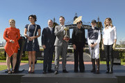 (L-R) Emma Freedman, Megan Gale, Neil Perry, Scott Thompson ( Lexus CEO ) Amanda Elliott (VRC Chairman), Francesca Cumani and Kate Waterhouse pose during the VRC Melbourne Cup Sponsorship Announcement at Flemington Racecourse on February 13, 2018 in Melbourne, Australia. The VRC  announced global luxury lifestyle brand Lexus as the new Melbourne Cup Principal Partner at Flemington Racecourse.