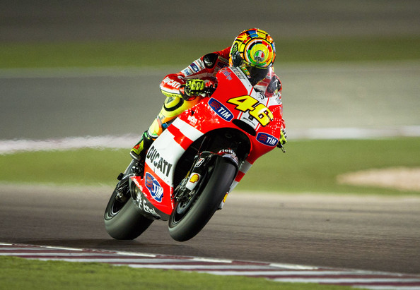 Valentino Rossi Valentino Rossi of Italy  and Ducati Marlboro Team heads down a straight during the free practice of Doha GP at Losail Circuit on March 17, 2011 in Doha, Qatar.