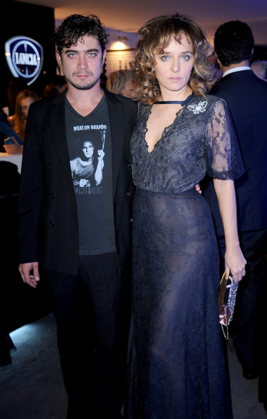 Celebrities At The Lancia Cafe - November 2, 2011 [celebrities,valeria golino,riccardo scamarcio,clothing,dress,fashion,event,premiere,little black dress,electric blue,haute couture,fashion design,formal wear,lancia cafe,rome,italy,cocktail party,rome film festival]