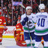 Mike Smith Photos - Bo Horvat #53 of the Vancouver Canucks scores a goal on Mike Smith #41 of the Calgary Flames during an NHL game at Scotiabank Saddledome on October 6, 2018 in Calgary, Alberta, Canada. - Vancouver Canucks vs. Calgary Flames
