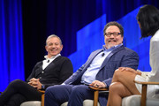 (L-R) Bob Iger, Chairman and CEO of The Walt Disney Company, actor/director Jon Favreau and Vanity Fair Editor-in-Chief Radhika Jones speak onstage during 'Lights, Camera, Tech: Storytelling in the Digital Age' at Vanity Fair's 6th Annual New Establishment Summit at Wallis Annenberg Center for the Performing Arts on October 22, 2019 in Beverly Hills, California.