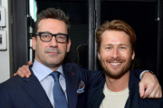 (L-R) Jon Hamm and Glen Powell attend Vanity Fair, Amazon Studios and Audi Celebrate The 2020 Awards Season at San Vicente Bungalows on January 04, 2020 in West Hollywood, California.