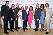 (L-R) Actors Timothy Simons, Kevin Dunn, Tony Hale, Anna Chlumsky, 'Veep' creator Armando Iannucci, actors Julia Louis-Dreyfus, Matt Walsh, Sufe Bradshaw and Gary Cole attend the Vanity Fair and Maybelline New York toast of the Emmy-Nominated 'VEEP' on August 22, 2014 in West Hollywood, California.