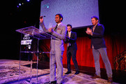 (L-R) Honoree Aziz Ansari, actors Adam Scott and Chris Pratt speak onstage at Variety's 5th annual Power of Comedy presented by TBS benefiting the Noreen Fraser Foundation at The Belasco Theater on December 11, 2014 in Los Angeles, California.