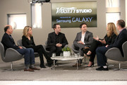 (L-R) Producers Jon Kilik, guest, Ido Ostrowsky, Teddy Schwarzman, Bruna Papandrea, and Matthew Baer attend day two of Variety Studio: Actors On Actors presented by Samsung Galaxy on November 9, 2014 in Los Angeles, California.