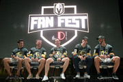 (L-R) Max Pacioretty #67, Paul Stastny #26, Jonathan Marchessault #81, Marc-Andre Fleury #29 and Deryk Engelland #5 of the Vegas Golden Knights answer questions during the Vegas Golden Knights Fan Fest at the Downtown Las Vegas Events Center on September 19, 2018 in Las Vegas, Nevada.