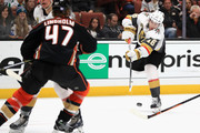 James Neal #18 of the Vegas Golden Knights shoots the puck as Hampus Lindholm #47 of the Anaheim Ducks defends during the second period of a game at Honda Center on November 22, 2017 in Anaheim, California.