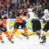 Ty Rattie Photos - Ty Rattie #8 of the Edmonton Oilers battles with Deryk Engelland #5 of the Vegas Golden Knights at Rogers Place on April 5, 2018 in Edmonton, Canada. - Vegas Golden Knights v Edmonton Oilers