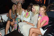 (L-R) Sandra Abt, Natascha Gruen, Papis Loveday, Verena Kerth and Giulia Siegel attend the Verena Kerth birthday party at P1 on July 18, 2013 in Munich, Germany. Kerth also celebrated the release of the new Playboy issue with her on the cover.
