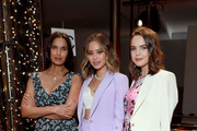 Padma Lakshmi, Jamie Chung, and Bailee Madison attend the Veronica Beard fashion show during February 2020 - New York Fashion Week: The Shows on February 10, 2020 in New York City.