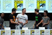 """(L-R) Actors Percy Daggs III, Jason Dohring, Ryan Hanson, Chris Lowell and actress Tina Majorino speak onstage at the """"Veronica Mars"""" special video presentation and Q&A during Comic-Con International 2013 at San Diego Convention Center on July 19, 2013 in San Diego, California."""