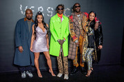 (L-R) Kanye West, Kim Kardashian West, Young Thug, 2 Chainz and Kesha Ward attend the the Versace fall 2019 fashion show at the American Stock Exchange Building in lower Manhattan on December 02, 2018 in New York City.