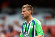 Nicklas Bendtner of Wolfsburg looks on during the Emirates Cup match between VfL Wolfsburg and Villareal at the Emirates Stadium on July 25, 2015 in London, England.