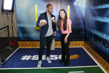 Victor Cruz SiriusXM at Super Bowl 50 Radio Row - Day 1
