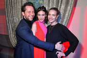 (L-R) Derek Blasberg, Alexa Chung and Natalia Vodianova attend the Victoria Beckham x YouTube Fashion & Beauty After Party at London Fashion Week hosted by Derek Blasberg and David Beckham, at Marks Club on February 17, 2019 in London, England.