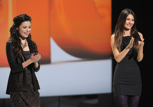 Victoria Justice Miranda Cosgrove and Victoria Justice speak at the 2011 Nickelodeon Upfront Presentation at Jazz at Lincoln Center on March 10, 2011 in New York City.