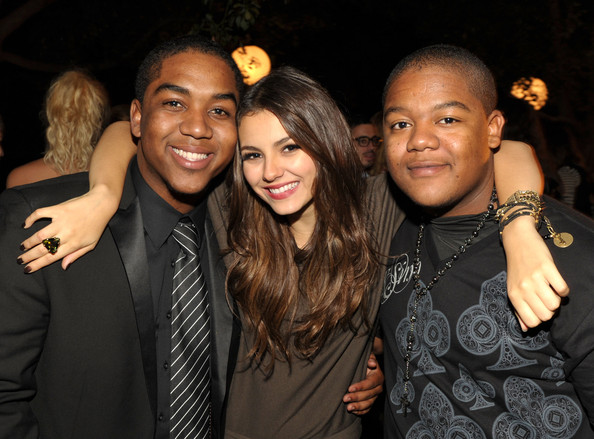 Victoria Justice Actors Chris Massey, Victoria Justice, and Kyle Massey pose inside at The 8th Annual Teen Vogue Young Hollywood Party at Paramount Studios on October 1, 2010 in Los Angeles, California.