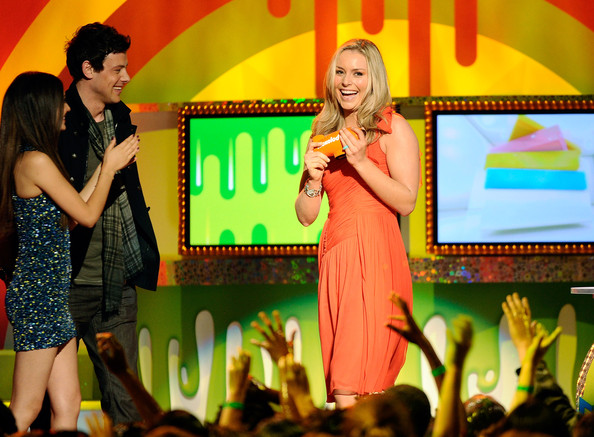 Victoria Justice (L-R) Actors Victoria Justice, Cory Monteith and Olympic gold medalist Lindsey Vonn speak onstage during Nickelodeon's 24th Annual Kids' Choice Awards at Galen Center on April 2, 2011 in Los Angeles, California.