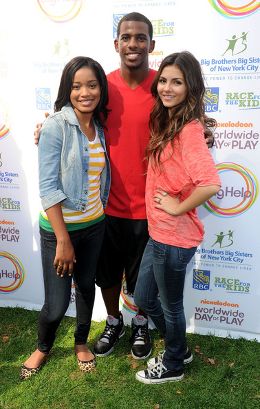 Victoria Justice Nickelodeon's (L-R) Keke Palmer, NBA player Chris Paul and Nickelodeon's Victoria Justice pose during Nickelodeon's Annual Worldwide Day of Play at NYC Big Brothers Big Sisters RBC Race for the Kids Event in Riverside Park on September 25, 2010 in New York City.