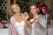 Victoria's Secret Angels Romee Strijd (L) and Josephine Skriver attend Victoria's Secret Ultimate Girls Night In with Angels Josephine Skriver and Romee Strijd at Peninsula Hotel on February 6, 2018 in Beverly Hills, California.