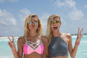 Rachel Hilbert and Devon Windsor attend Victoria's Secret PINK Nation Spring Break Beach Party in Cancun, Mexico on March 15, 2016 in Cancun, Mexico.